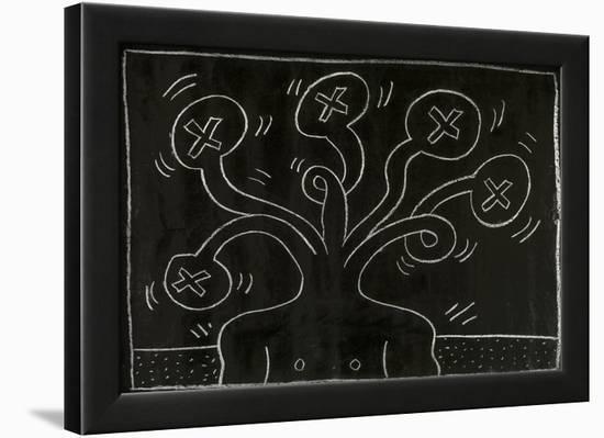 Haring - Subway Drawing Untitled - 27-Keith Haring-Framed Art Print