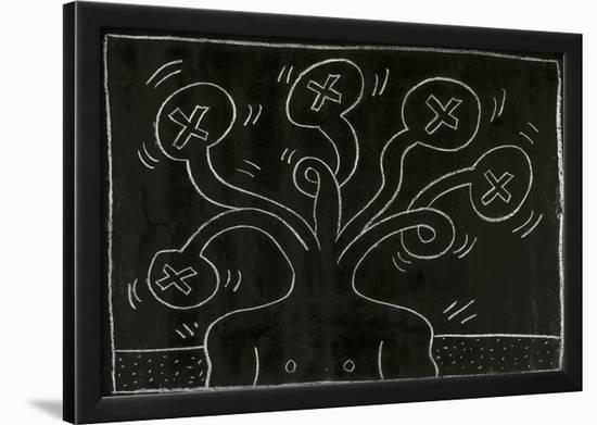 Haring - Subway Drawing Untitled - 27-Keith Haring-Framed Giclee Print