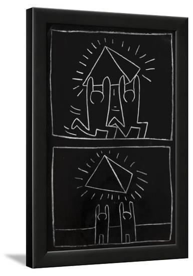 Haring - Subway Drawing Untitled - 32-Keith Haring-Framed Art Print
