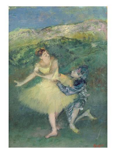 Harlequin and Colombine, C.1886-90 (Oil on Panel)-Edgar Degas-Giclee Print