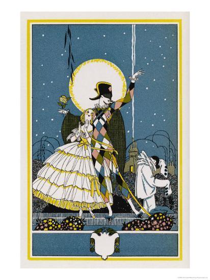 Harlequin and Columbine-John Austen-Giclee Print