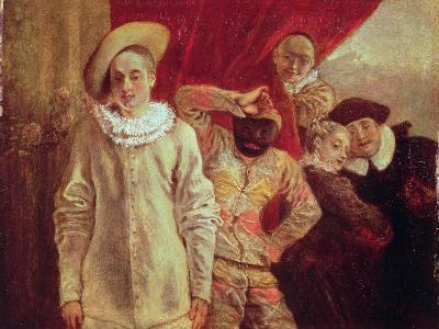 Harlequin, Pierrot and Scapin, Actors from the Commedia dell'Arte-Jean Antoine Watteau-Giclee Print
