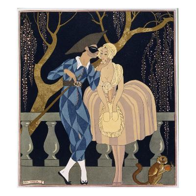 Harlequin's Kiss-Georges Barbier-Giclee Print