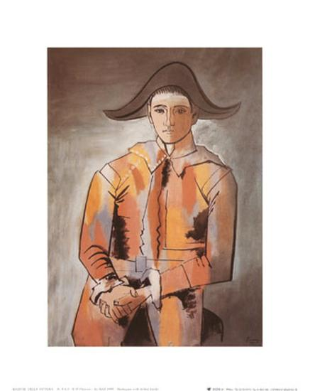 Harlequin with Folded Hands, c.1923-Pablo Picasso-Art Print