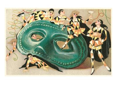 Harlequins Cavorting on Huge Mask--Art Print