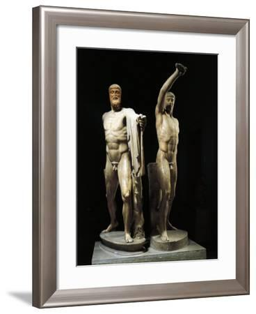 Harmodius and Aristogiton known as the Tyrannicides, Roman Copy after a Greek Bronze--Framed Giclee Print