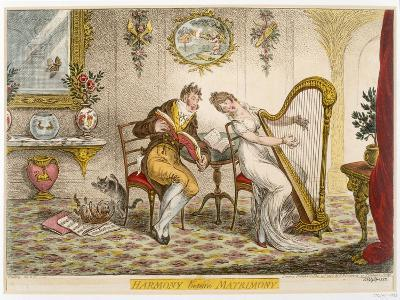 Harmony before Matrimony', Published 1805 (Coloured Engraving)-James Gillray-Giclee Print