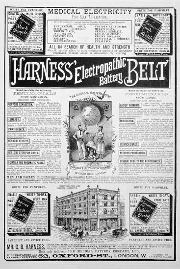 Harness Electropathic Battery Belt Advert, 1893--Giclee Print