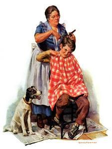 """""""Kitchen Haircut,""""November 11, 1933 by Harold Anderson"""