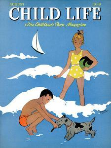 A Day at the Beach - Child Life, August 1939 by Harold Carroll