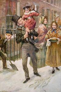 Bob Cratchit and Tiny Tim, Illustration for 'Character Sketches from Dickens' Compiled by B.W.… by Harold Copping