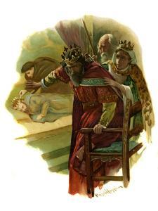 Claudius flees a play re-enacting King Hamlet's murder by Harold Copping