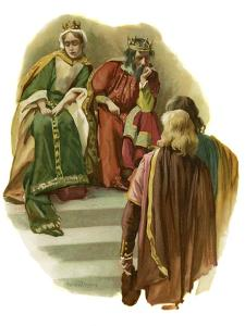 Claudius tells Rosencrantz and Guildenstern of Polonius' murder by Harold Copping