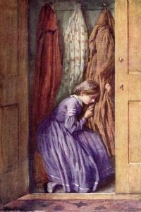 She Hid Her Face in the Folds of a Certain Dear Old Gown, and Made Her Little Moan by Harold Copping