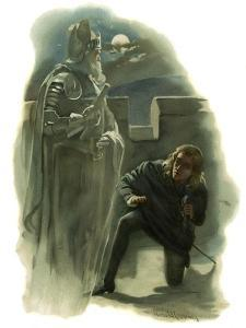 The ghost of Hamlet's father appears to Prince Hamlet by Harold Copping