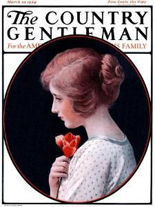 """""""Woman and a Rose,"""" Country Gentleman Cover, March 22, 1924 by Harold Copping"""