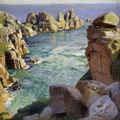 Logans Rock, Porthcurno Beach, Cornwall by Harold Harvey