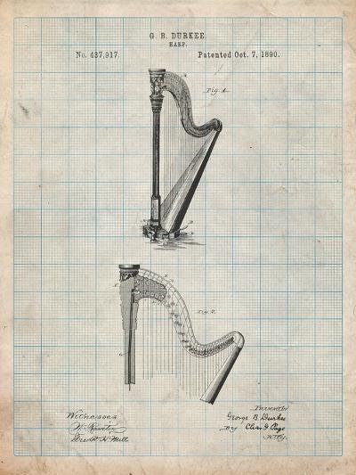 Harp Instrument 1890 Patent-Cole Borders-Art Print