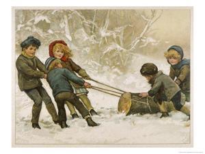Five Children Fetch Home a Very Big Yule Log by Harriet M. Bennett