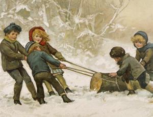 Five Children Fetch Home a Very Big Yule Log by Harriet M^ Bennett
