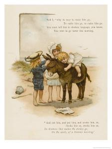 Small Child Clings to the Donkey's Mane While Her Brother Holds It by the Head by Harriet M. Bennett