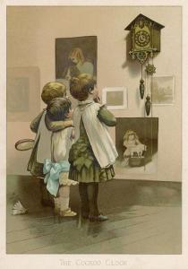 Three Children Break off from Their Game of Battledore and Shuttlecock to Admire the Cuckoo Clock by Harriet M. Bennett