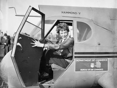 Amelia Earhart in an aeroplane, 1936