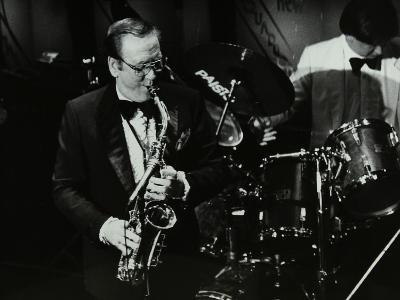 Harry Bence Playing the Saxophone at the Forum Theatre, Hatfield, Hertfordshire, 1984-Denis Williams-Photographic Print
