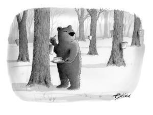 A bear taking syrup from a tree for his pancakes. - New Yorker Cartoon by Harry Bliss
