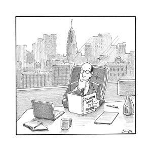 """A CEO reads a book called """"So, You're Going to Prison."""" - New Yorker Cartoon by Harry Bliss"""