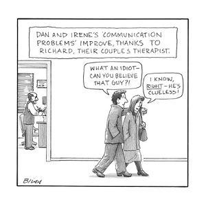 A couple badmouths their therapist while they leave couple's therapy. - New Yorker Cartoon by Harry Bliss