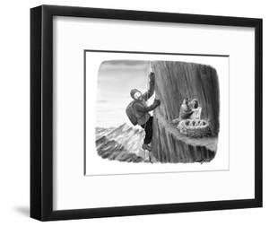 A mountain climber spies an eagle feeding her chicks an order of McDonald'? - New Yorker Cartoon by Harry Bliss