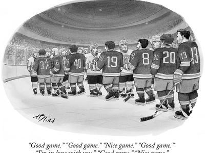 """Good game."" ""Good game."" ""Nice game."" ""Good game."" ""I'm in love with you.…"" - New Yorker Cartoon"