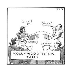 """Hollywood Think Tank,"" four people sitting around a table, saying, ""sex,""... - New Yorker Cartoon by Harry Bliss"