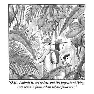 """O.K., I admit it, we're lost, but the important thing is to remain focuss?"" - New Yorker Cartoon by Harry Bliss"