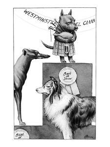 Scottie dog with bagpipes and kilt wins best in show in Westminster Kennel? - New Yorker Cartoon by Harry Bliss