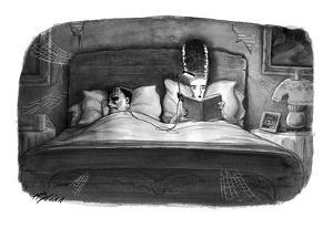 The bride of Frankenstein reading a book in bed with a book light plugged ? - New Yorker Cartoon by Harry Bliss