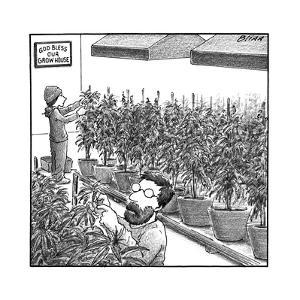 "Two people tending weed, and a sign that says ""God bless our grow house."" - New Yorker Cartoon by Harry Bliss"