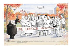 Various New Yorker Cartoon characters in Central Park ready to start the N? - New Yorker Cartoon by Harry Bliss