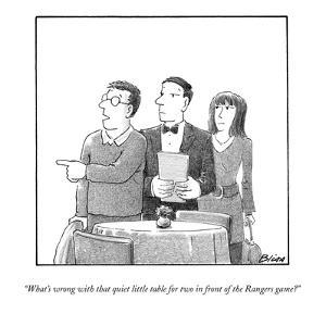 """What's wrong with that quiet little table for two in front of the Rangers?"" - New Yorker Cartoon by Harry Bliss"