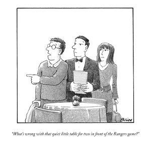 """""""What's wrong with that quiet little table for two in front of the Rangers?"""" - New Yorker Cartoon by Harry Bliss"""