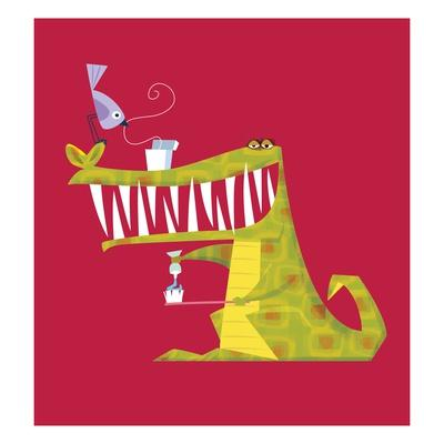 Crocodile brushing his teeth