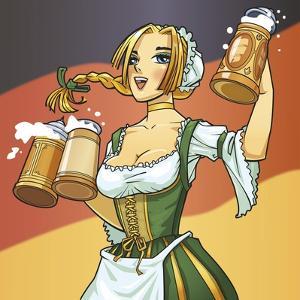 German Barmaid by Harry Briggs