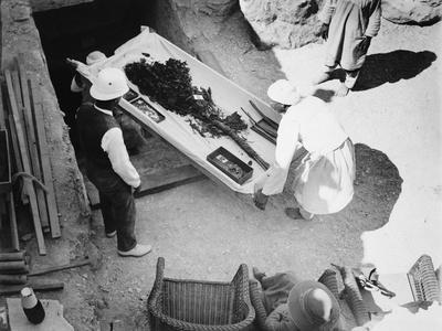 Funeral bouquet being removed from the tomb of Tutankhamun, Valley of the Kings, Egyp, 1922