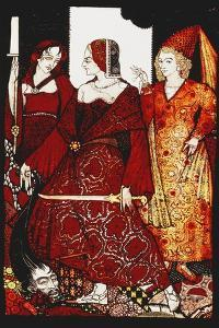 Queens Who Cut the Hogs of Glanna...'. 'Queens', Nine Glass Panels Acided, Stained and Painted,… by Harry Clarke