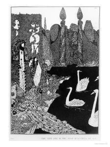 """The New One is the Most Beautiful of All, Illustration for """"The Ugly Duckling"""" by Harry Clarke"""