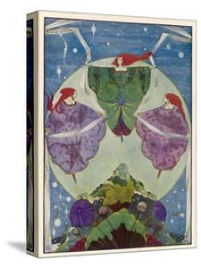 Three Mysterious Women Float Above the Hill by Harry Clarke