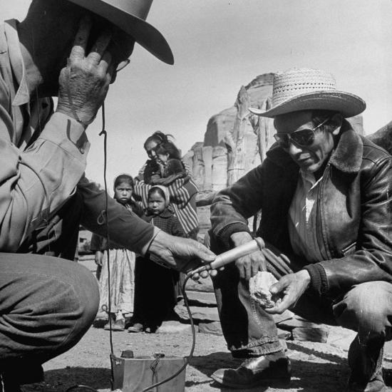 Harry Goulding Testing Ore for Uranium with a Gieger Counter-Loomis Dean-Photographic Print