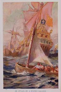 An Attack on a Spanish Galleon, Book Illustration from 'Pioneers in Tropical America' by Harry Hamilton Johnston