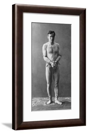 Harry Houdini, in Chains, 1900--Framed Photo